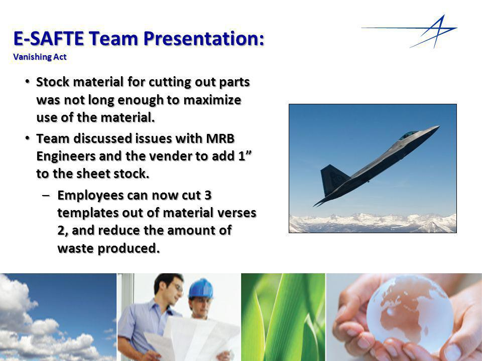 17 E-SAFTE Team Presentation: Vanishing Act Stock material for cutting out parts was not long enough to maximize use of the material.