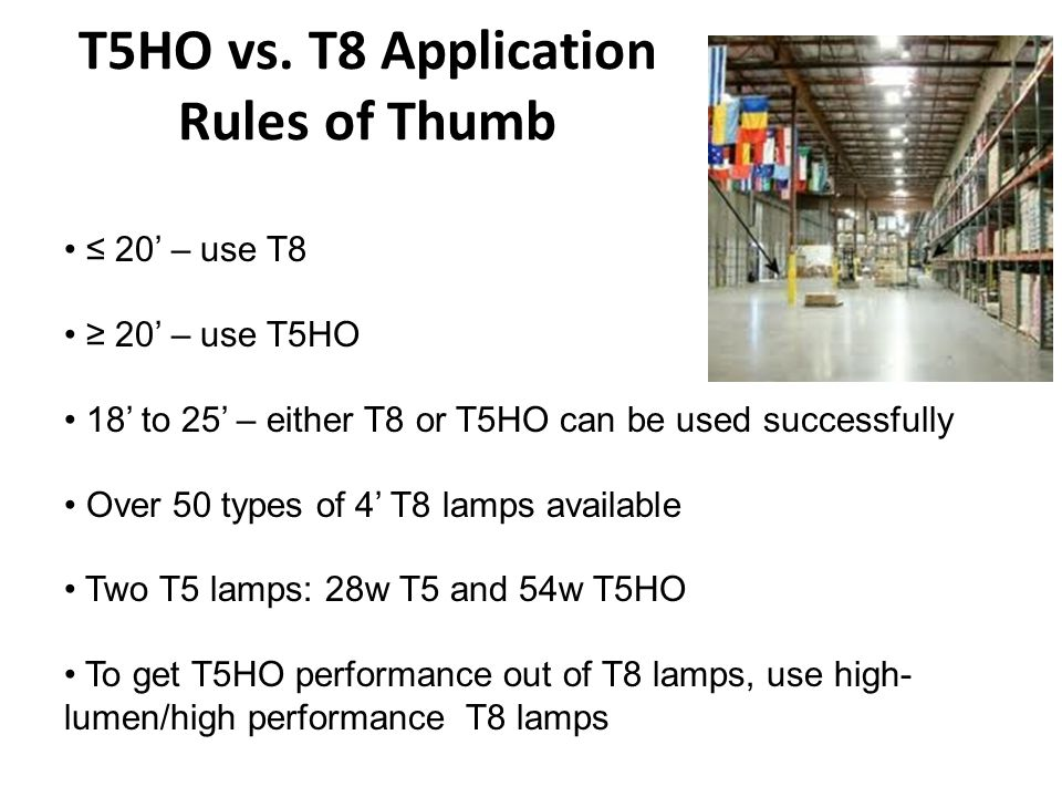 T5 and T5HO Systems Disadvantages T5 and T5HO lamp life is less than T8s The bulb wall surface of the T5 is very bright.