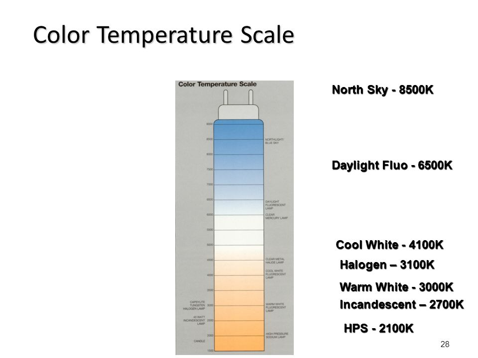 Color Temperature (K˚) A measure of the warmth or coolness of a light source.