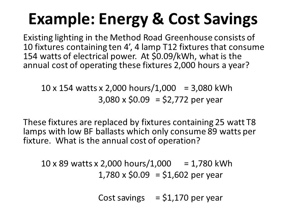 Example: Simple Payback & ROI A lighting upgrade is estimated to save $5,000 a year and cost $25,000.
