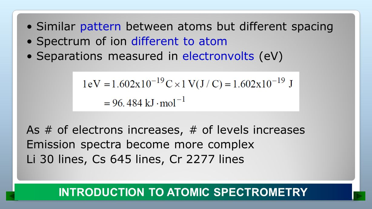 As # of electrons increases, # of levels increases Emission spectra become more complex Li 30 lines, Cs 645 lines, Cr 2277 lines INTRODUCTION TO ATOMIC SPECTROMETRY