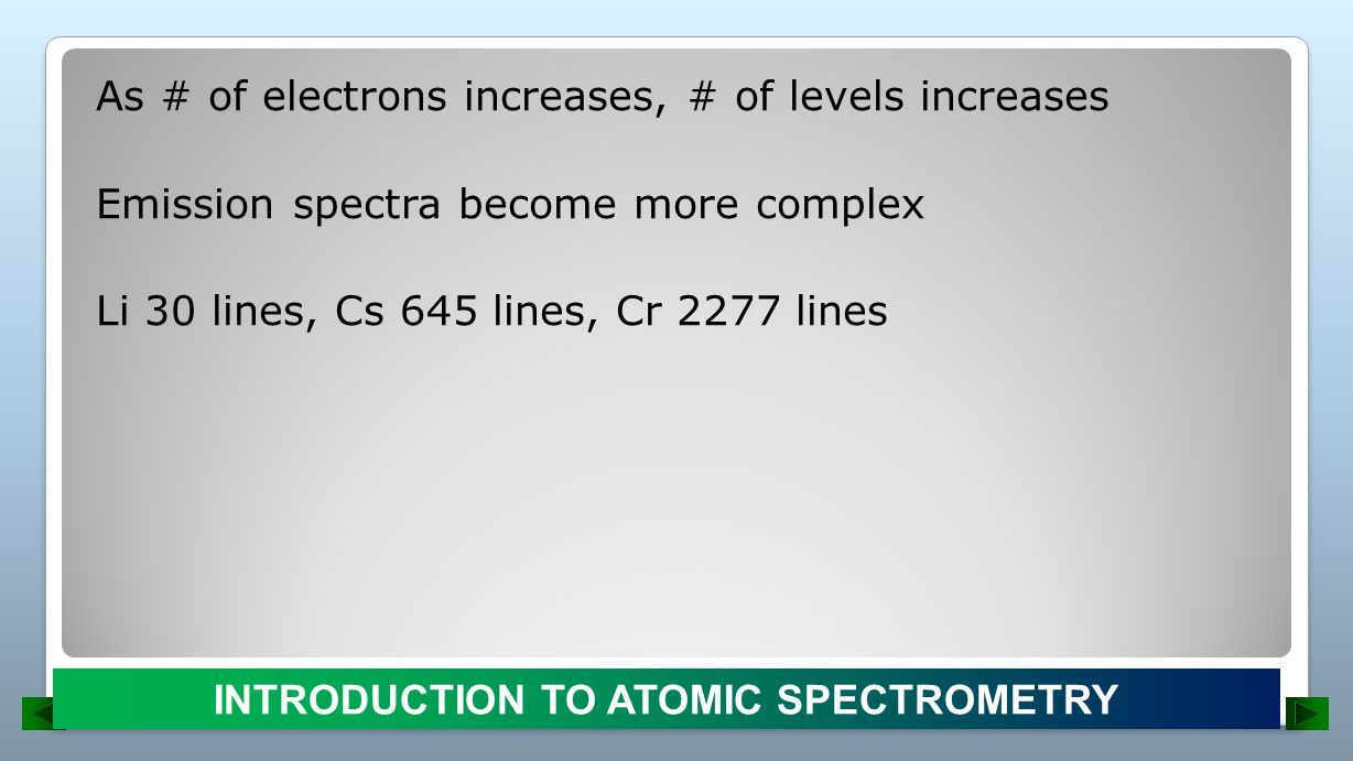 Arc and Spark Excitation Sources: Limited to semiquantitative/qualitative analysis (arc flicker) Usually performed on solids Largely displaced by plasma-AES Electric current flowing between two C electrodes ATOMIC EMISSION SPECTROSCOPY