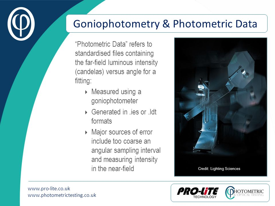 www.pro-lite.co.uk www.photometrictesting.co.uk Goniophotometry & Photometric Data Photometric Data refers to standardised files containing the far-fi