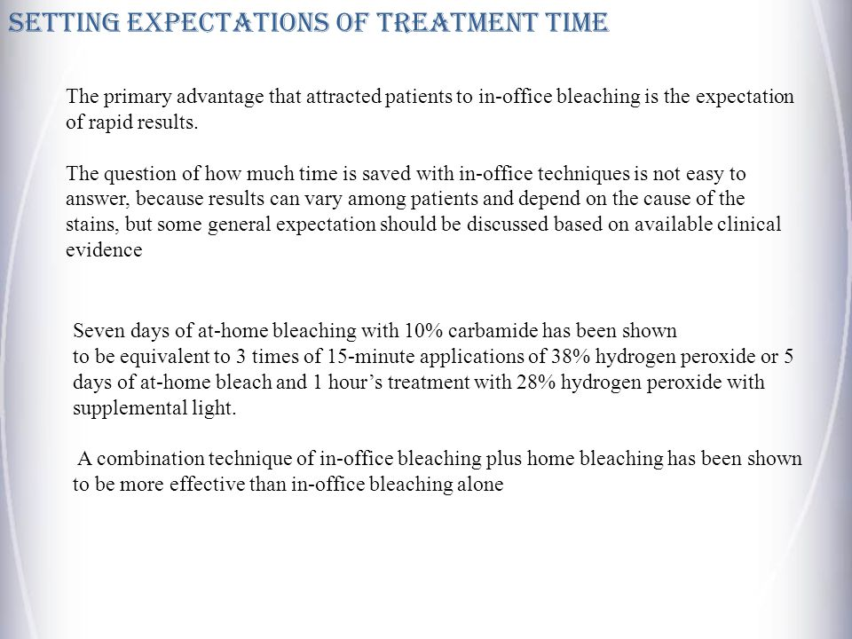 SETTING EXPECTATIONS OF TREATMENT TIME The primary advantage that attracted patients to in-office bleaching is the expectation of rapid results.