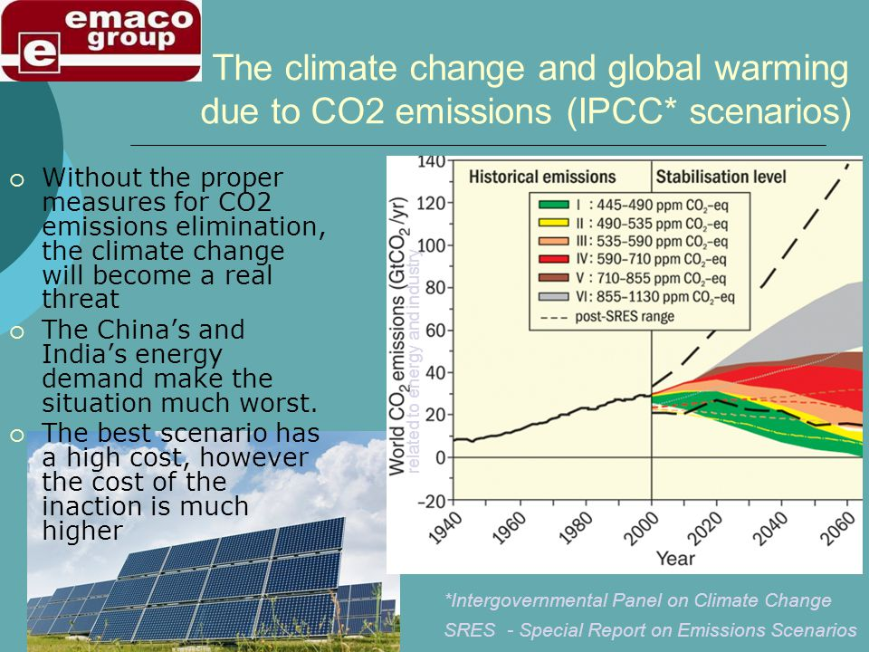 The climate change and global warming due to CO2 emissions (IPCC* scenarios) Without the proper measures for CO2 emissions elimination, the climate change will become a real threat The Chinas and Indias energy demand make the situation much worst.