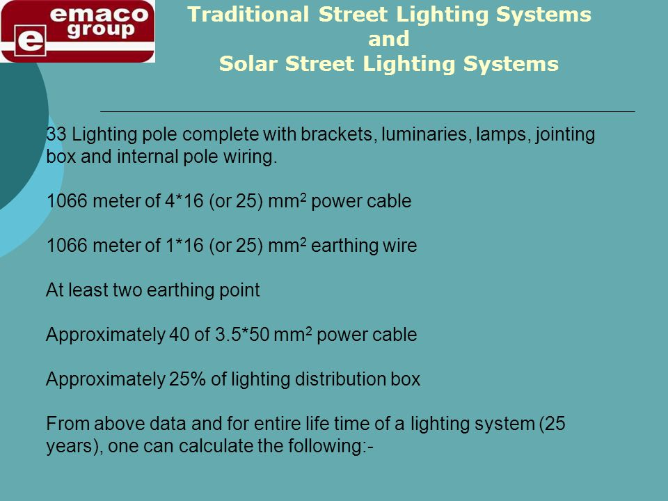 33 Lighting pole complete with brackets, luminaries, lamps, jointing box and internal pole wiring. 1066 meter of 4*16 (or 25) mm 2 power cable 1066 me