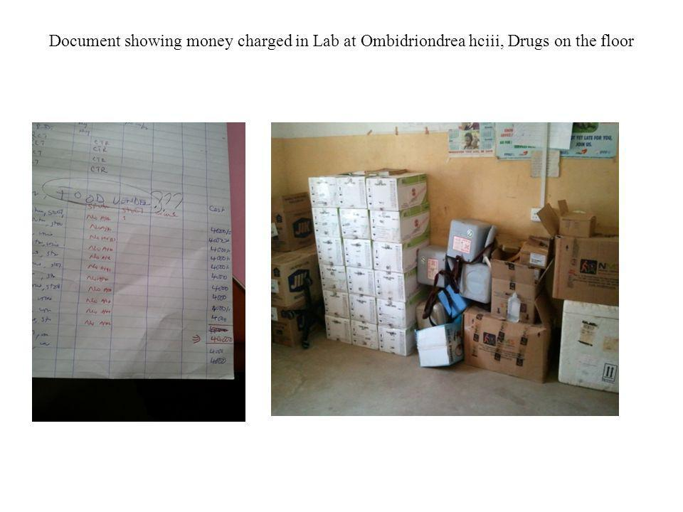 Document showing money charged in Lab at Ombidriondrea hciii, Drugs on the floor