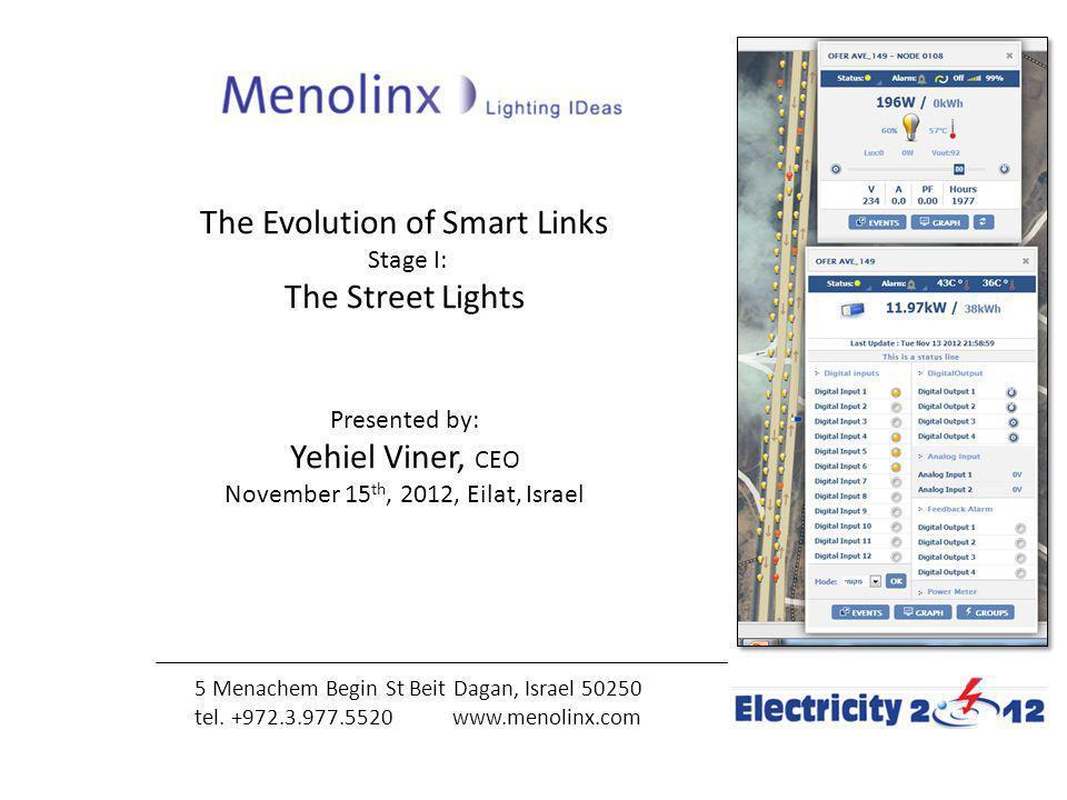 The Evolution of Smart Links Stage I: The Street Lights Presented by: Yehiel Viner, CEO November 15 th, 2012, Eilat, Israel 5 Menachem Begin St Beit D