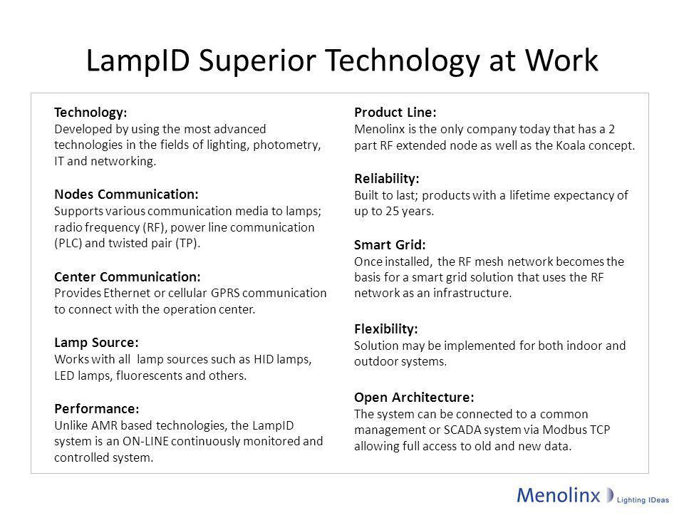 LampID Superior Technology at Work Technology : Developed by using the most advanced technologies in the fields of lighting, photometry, IT and networ