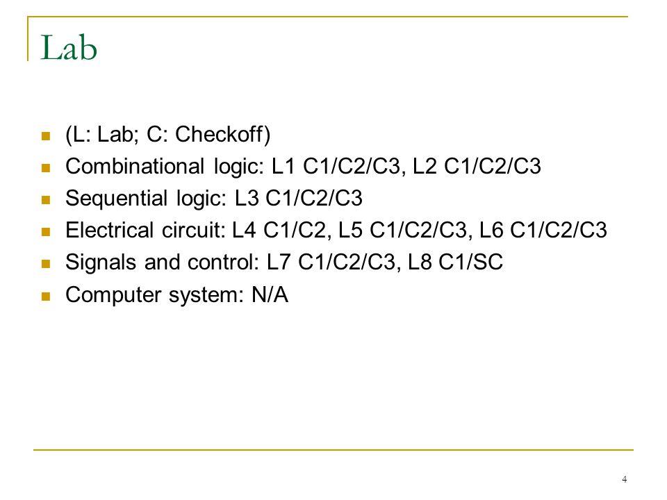 Lab (L: Lab; C: Checkoff) Combinational logic: L1 C1/C2/C3, L2 C1/C2/C3 Sequential logic: L3 C1/C2/C3 Electrical circuit: L4 C1/C2, L5 C1/C2/C3, L6 C1/C2/C3 Signals and control: L7 C1/C2/C3, L8 C1/SC Computer system: N/A 4