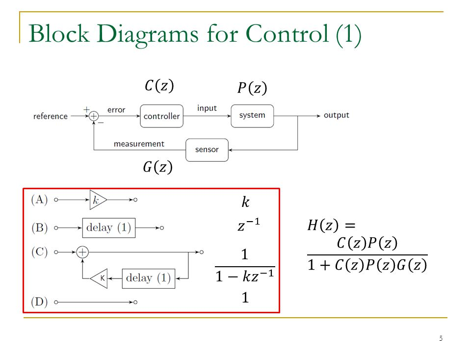 Block Diagrams for Control (1) 5