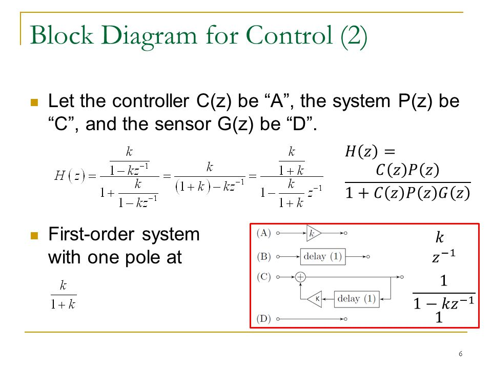 Block Diagram for Control (2) Let the controller C(z) be A, the system P(z) be C, and the sensor G(z) be D.
