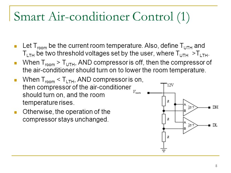 Smart Air-conditioner Control (2) Using the digitized information DL and DH about the room temperature, implement the air-conditioner control as a state machine.