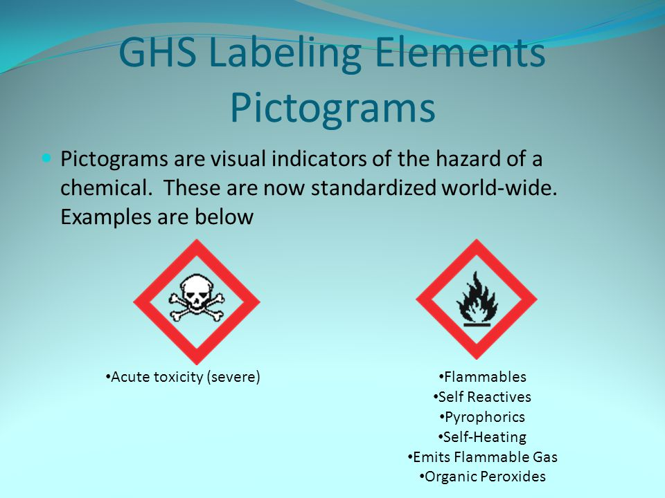 GHS Labeling Elements Pictograms Pictograms are visual indicators of the hazard of a chemical. These are now standardized world-wide. Examples are bel