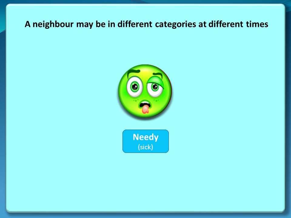 A neighbour may be in different categories at different times Hostile Needy (sick)