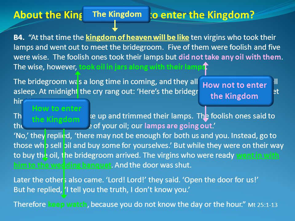 About the Kingdom, or how to enter the Kingdom? B4. At that time the kingdom of heaven will be like ten virgins who took their lamps and went out to m