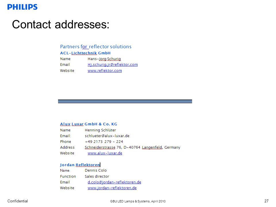 Confidential GBU LED Lamps & Systems, April 2010 27 Contact addresses: