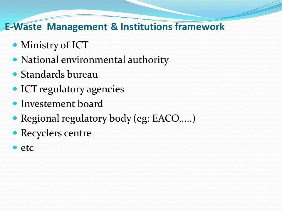 E-Waste Management & Institutions framework Ministry of ICT National environmental authority Standards bureau ICT regulatory agencies Investement boar