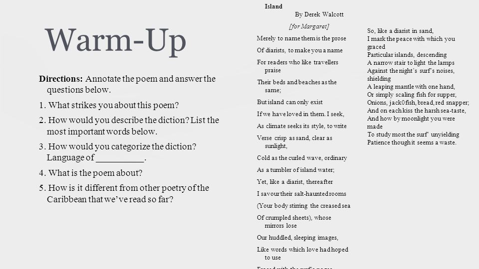 Warm-Up Directions: Annotate the poem and answer the questions below.
