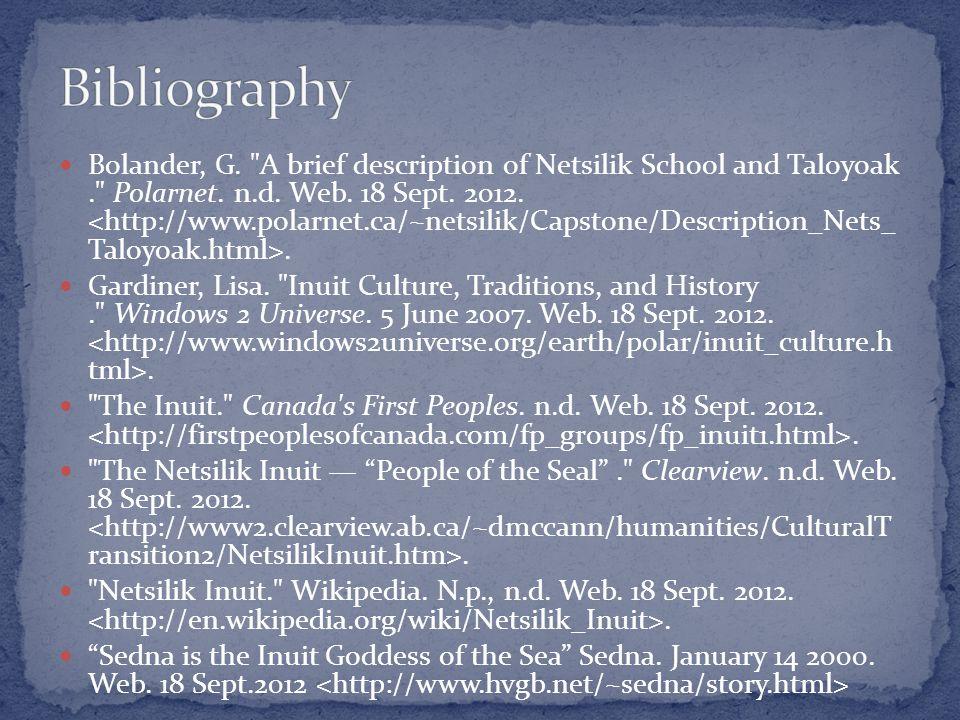 Bolander, G. A brief description of Netsilik School and Taloyoak. Polarnet.
