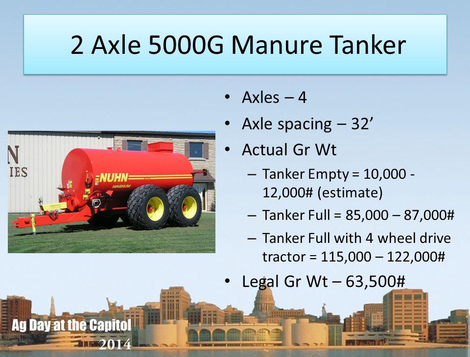 2 Axle 5000G Manure Tanker Axles – 4 Axle spacing – 32 Actual Gr Wt – Tanker Empty = 10,000 - 12,000# (estimate) – Tanker Full = 85,000 – 87,000# – Ta