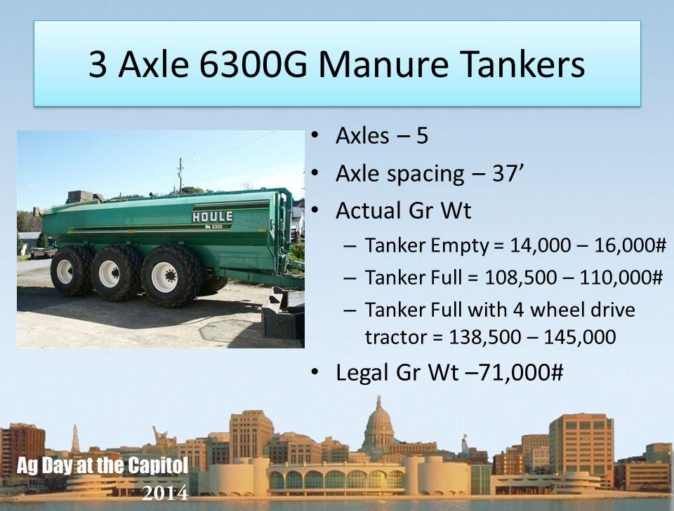 3 Axle 6300G Manure Tankers Axles – 5 Axle spacing – 37 Actual Gr Wt – Tanker Empty = 14,000 – 16,000# – Tanker Full = 108,500 – 110,000# – Tanker Ful