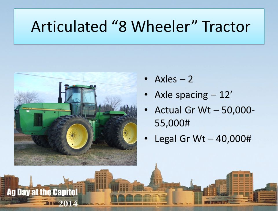 Articulated 8 Wheeler Tractor Axles – 2 Axle spacing – 12 Actual Gr Wt – 50,000- 55,000# Legal Gr Wt – 40,000#