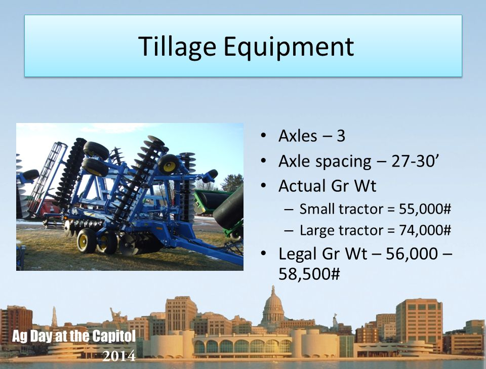 Tillage Equipment Axles – 3 Axle spacing – 27-30 Actual Gr Wt – Small tractor = 55,000# – Large tractor = 74,000# Legal Gr Wt – 56,000 – 58,500#