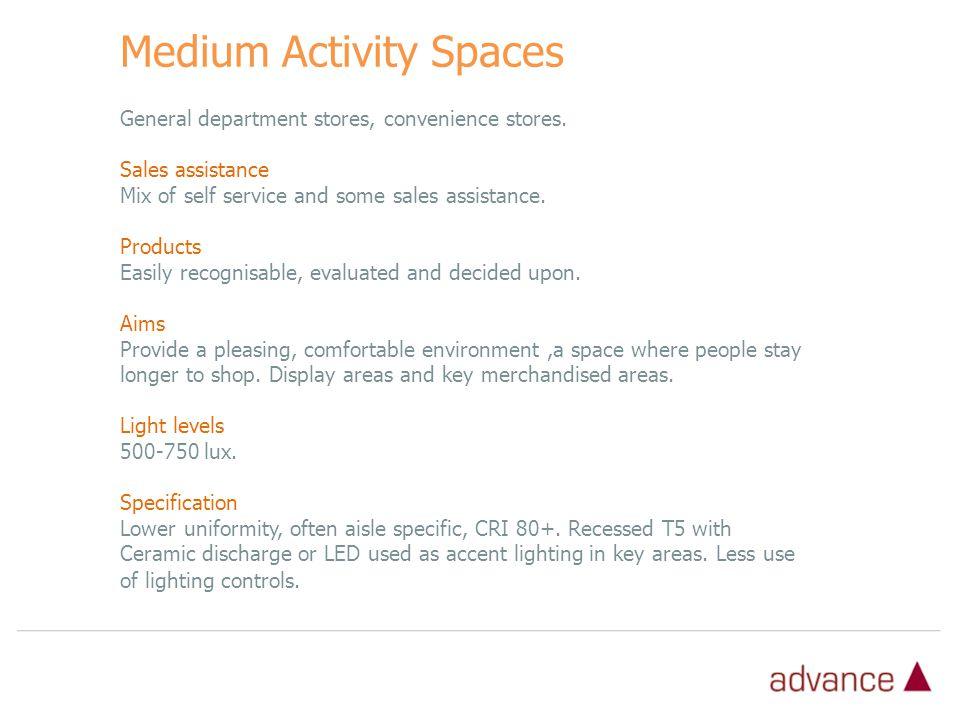 Medium Activity Spaces General department stores, convenience stores.