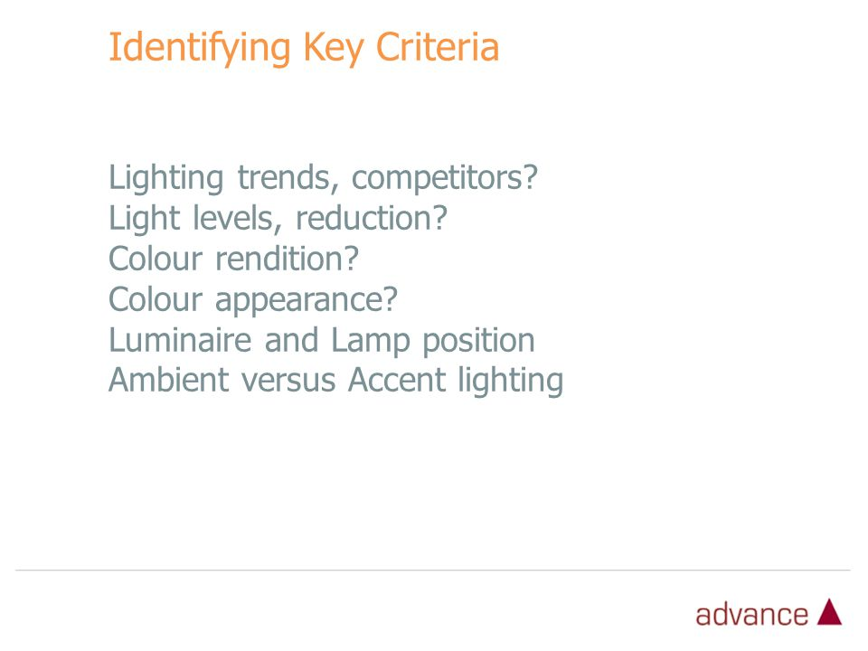 Identifying Key Criteria Lighting trends, competitors.