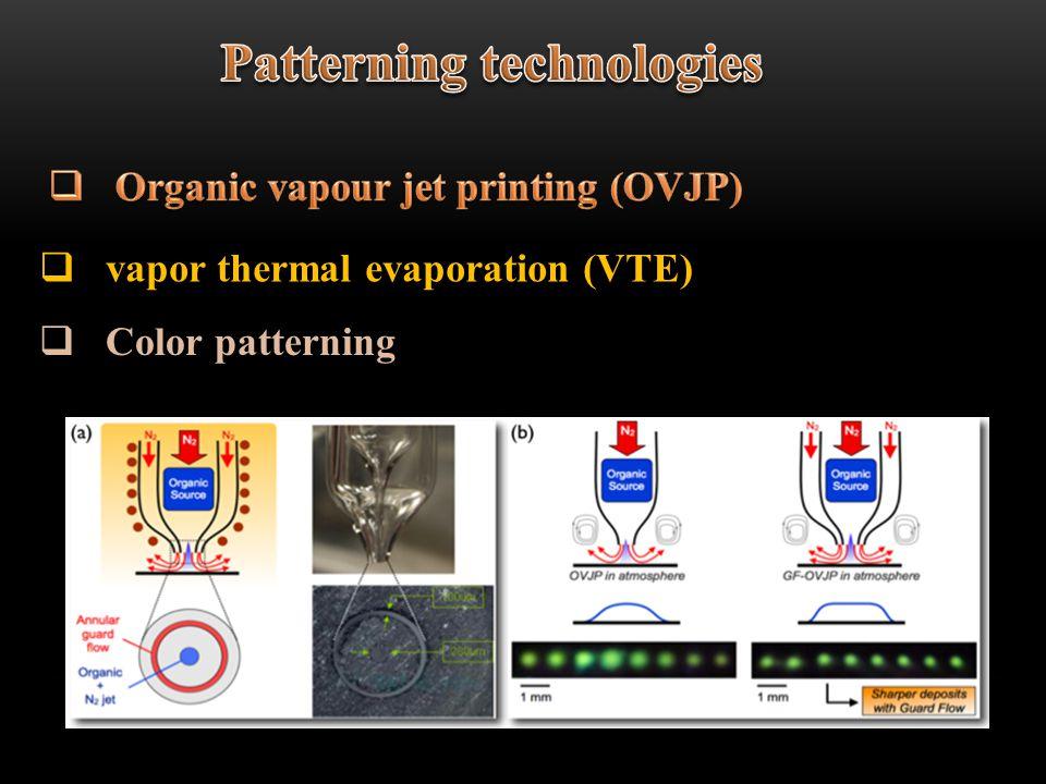 vapor thermal evaporation (VTE) Color patterning