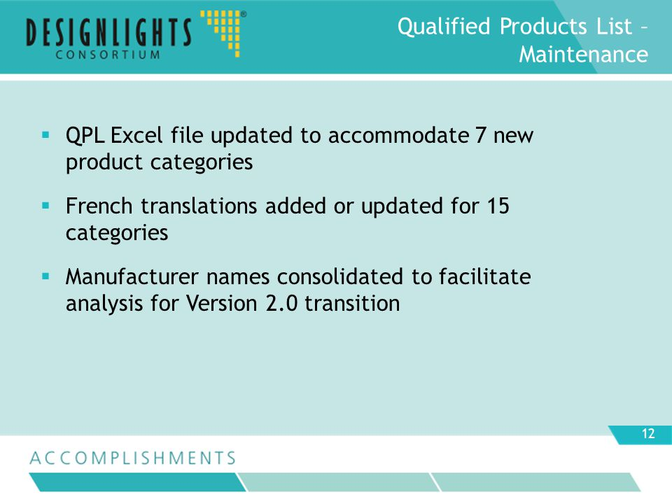 Qualified Products List – Maintenance QPL Excel file updated to accommodate 7 new product categories French translations added or updated for 15 categories Manufacturer names consolidated to facilitate analysis for Version 2.0 transition 12