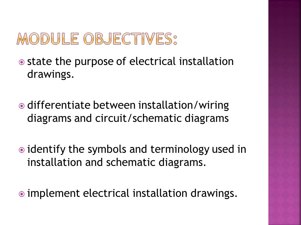 state the purpose of electrical installation drawings. differentiate between installation/wiring diagrams and circuit/schematic diagrams identify the