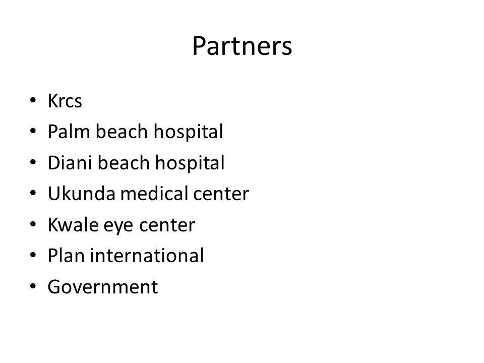 Partners Krcs Palm beach hospital Diani beach hospital Ukunda medical center Kwale eye center Plan international Government