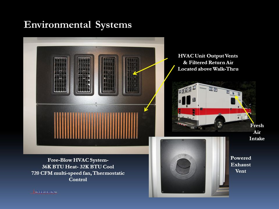 Environmental Systems HVAC Unit Output Vents & Filtered Return Air Located above Walk-Thru Powered Exhaust Vent Free-Blow HVAC System- 36K BTU Heat- 3