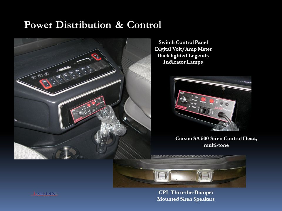 Carson SA 500 Siren Control Head, multi-tone Switch Control Panel Digital Volt/Amp Meter Back lighted Legends Indicator Lamps Power Distribution & Con