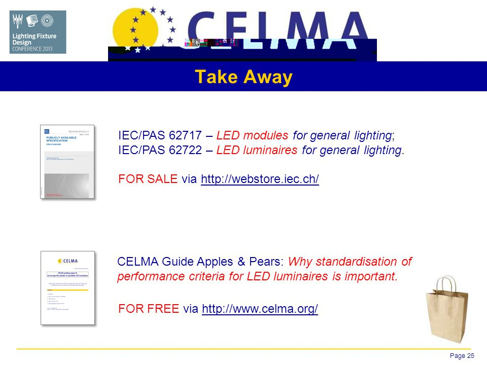 Page 25 Take Away IEC/PAS – LED modules for general lighting; IEC/PAS – LED luminaires for general lighting.
