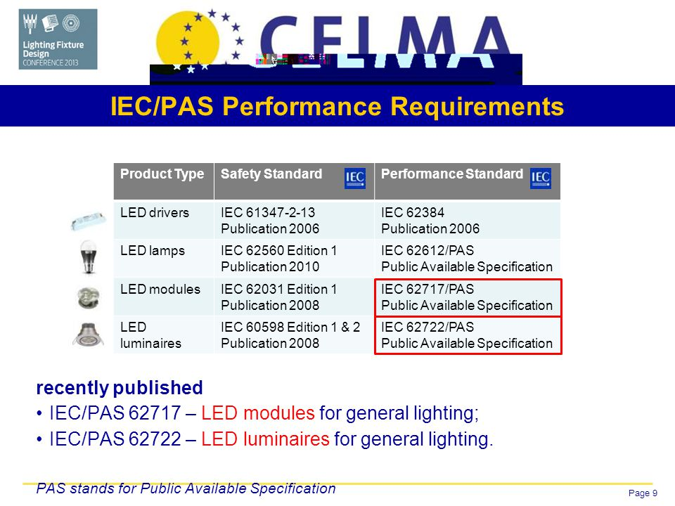 Page 9 IEC/PAS Performance Requirements recently published IEC/PAS – LED modules for general lighting; IEC/PAS – LED luminaires for general lighting.
