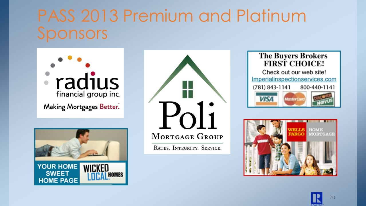 70 PASS 2013 Premium and Platinum Sponsors