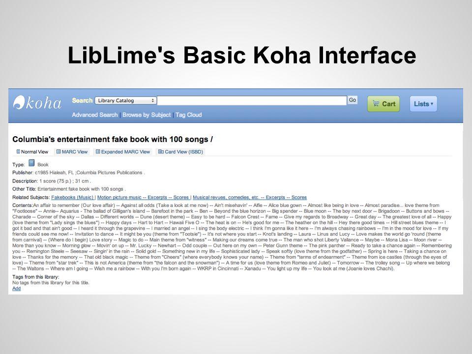 LibLime's Basic Koha Interface