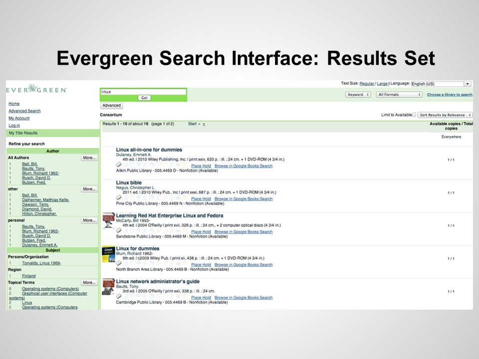 Evergreen Search Interface: Results Set