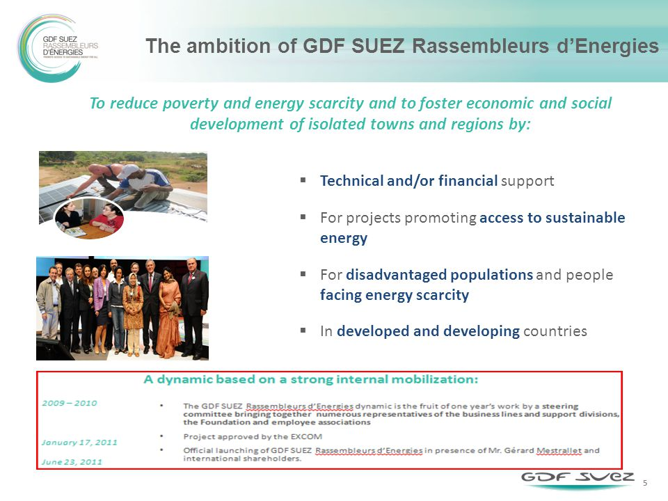 The ambition of GDF SUEZ Rassembleurs dEnergies Technical and/or financial support For projects promoting access to sustainable energy For disadvantaged populations and people facing energy scarcity In developed and developing countries To reduce poverty and energy scarcity and to foster economic and social development of isolated towns and regions by: 5