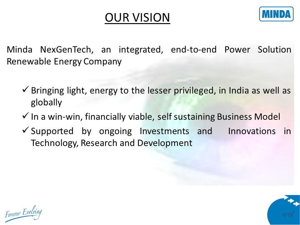 7/18 OUR DREAM To create a viable Business model with strong social commitment and built in CSR component.