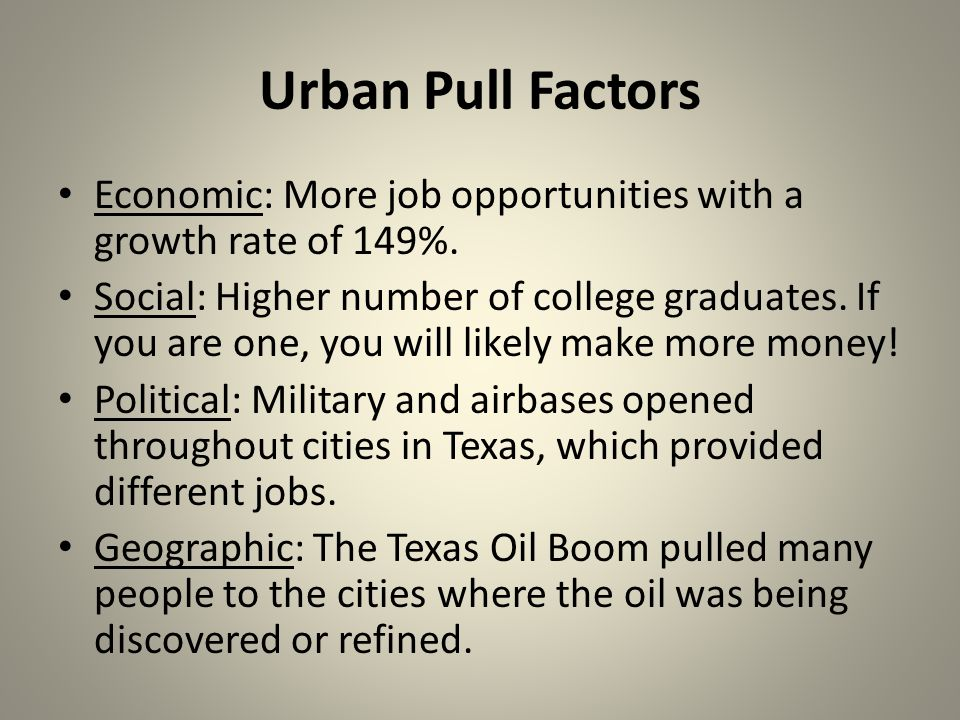 Urban Pull Factors Economic: More job opportunities with a growth rate of 149%.