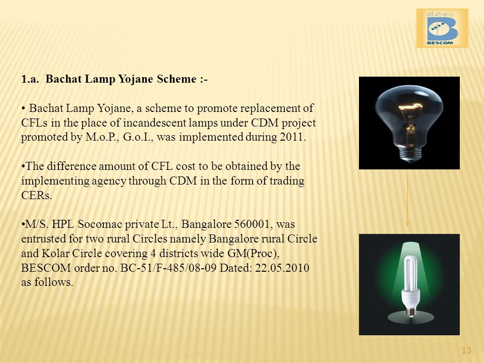 1.a. Bachat Lamp Yojane Scheme :- Bachat Lamp Yojane, a scheme to promote replacement of CFLs in the place of incandescent lamps under CDM project pro