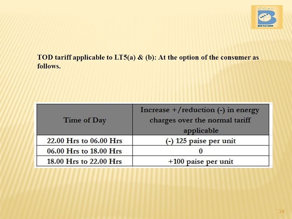 TOD tariff applicable to LT5(a) & (b): At the option of the consumer as follows. 34