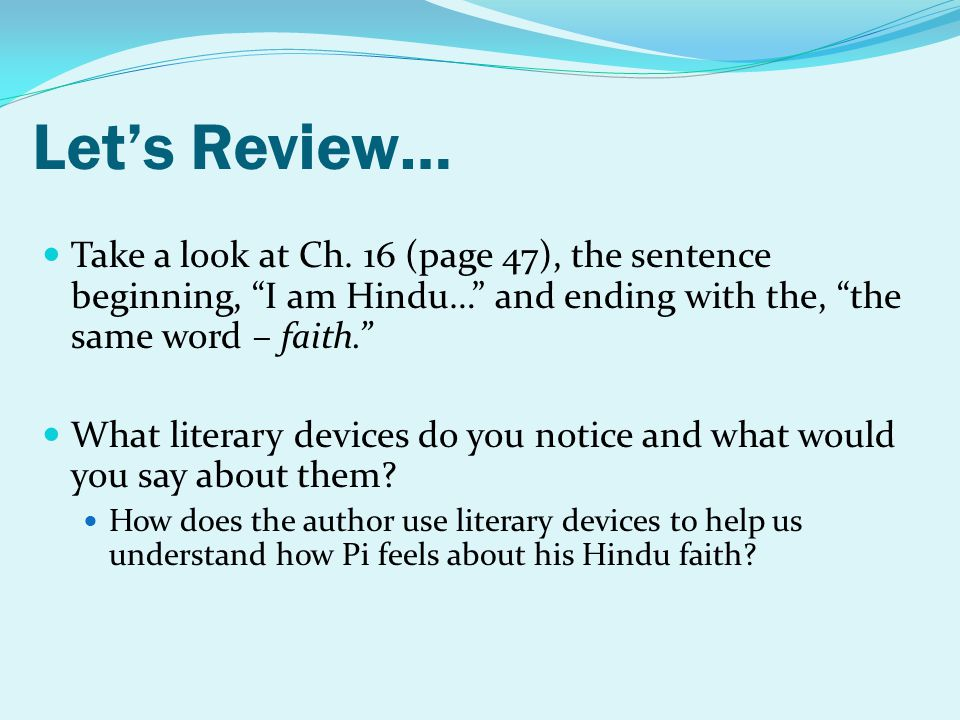 Lets Review… Take a look at Ch.