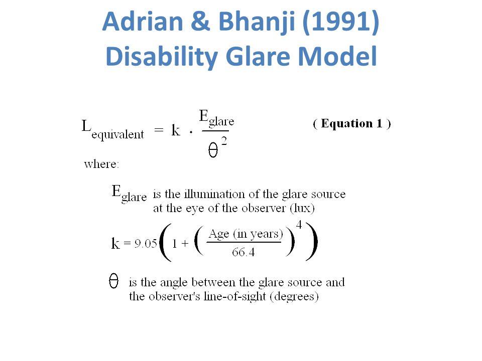 Adrian & Bhanji (1991) Disability Glare Model