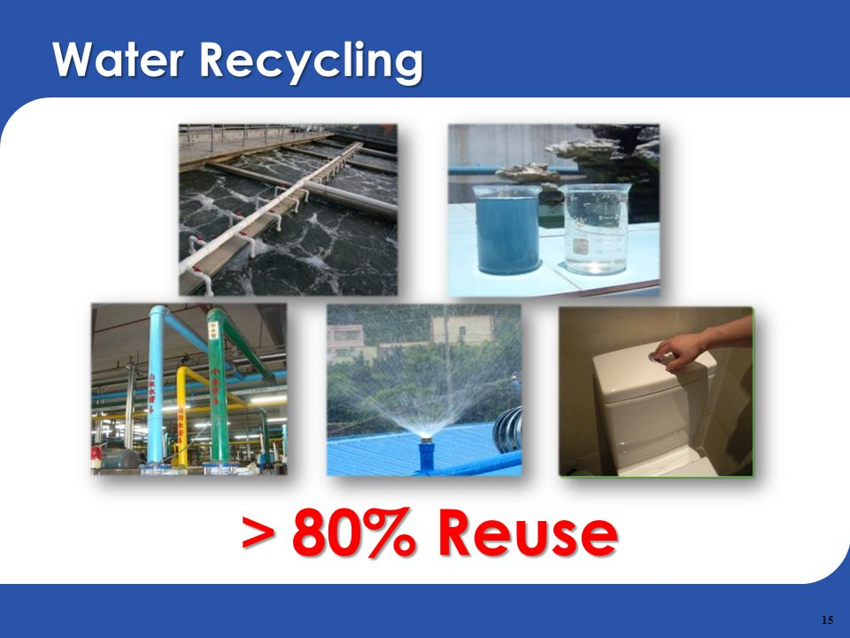 15 80% Reuse 80% Reuse Water Recycling