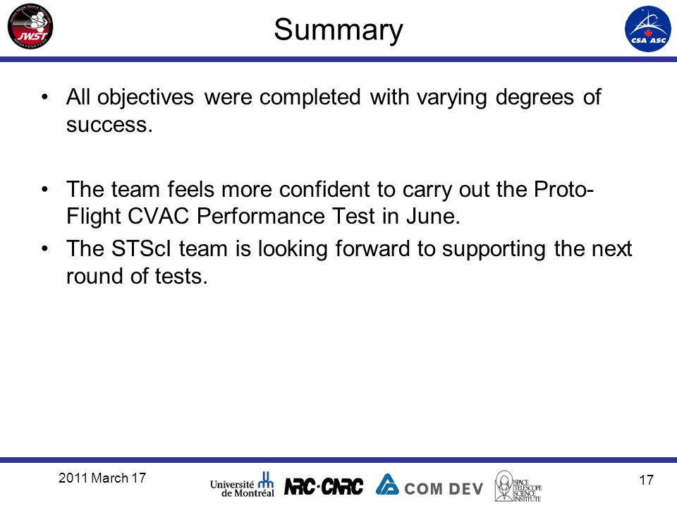 Summary All objectives were completed with varying degrees of success. The team feels more confident to carry out the Proto- Flight CVAC Performance T